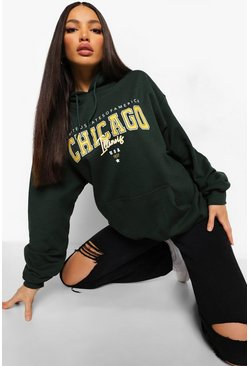 Green Tall Oversized Chicago Hoodie