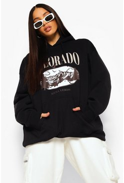 Black Tall Oversized Colorado Hoodie