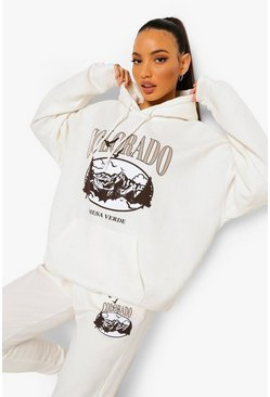 "Tall - Sweat à capuche oversize ""Colorado"", Ecru blanc"