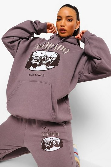 Grey Tall Oversized Colorado Hoodie