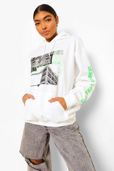 White Tall Oversized Graphic Hoodie
