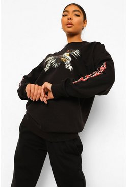 Black Tall Oversized Eagle Graphic Sweatshirt