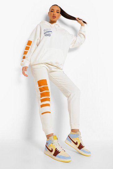 Ecru white White Tall Season Graphic Joggers