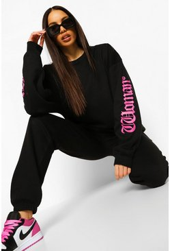 Black Tall Oversized Woman Slogan Sweatshirt