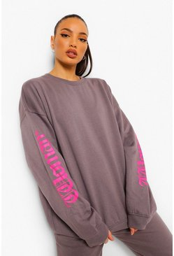 Grey Tall Oversized Woman Slogan Sweatshirt