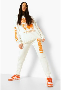 Ecru white Tall Limited Joggingbroek Met Opdruk
