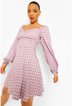 Lilac purple Tall Woven Check Print Skater Dress