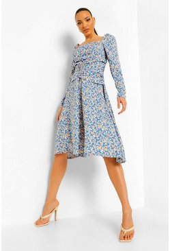 Blue Tall Floral Print Midaxi Dress