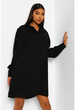 Black Tall Woven Shirt Dress