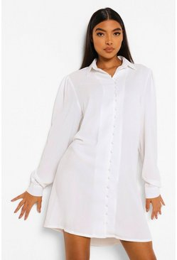 White Tall Woven Shirt Dress