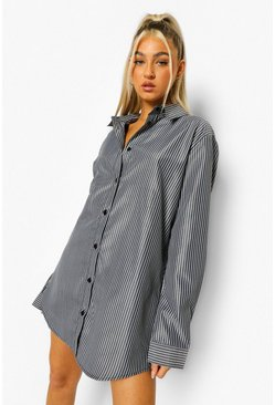 Black Tall Woven Pinstripe Oversized Shirt Dress