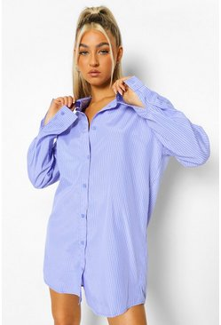 Blue Tall Woven Pinstripe Oversized Shirt Dress