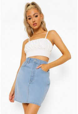 Light blue blue Tall Classic Stretch Denim Skirt