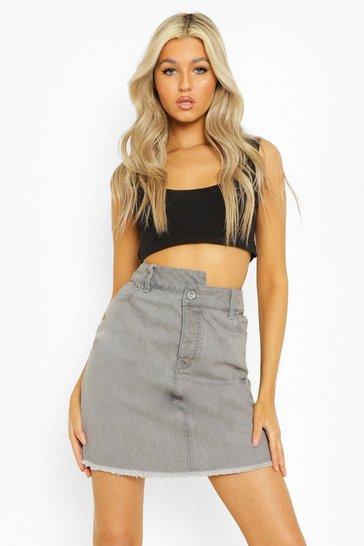 Grey Tall Asymmetric Waistband Denim Skirt