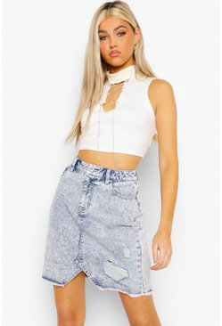 Light blue blue Tall Acid Wash Distressed Denim Skirt
