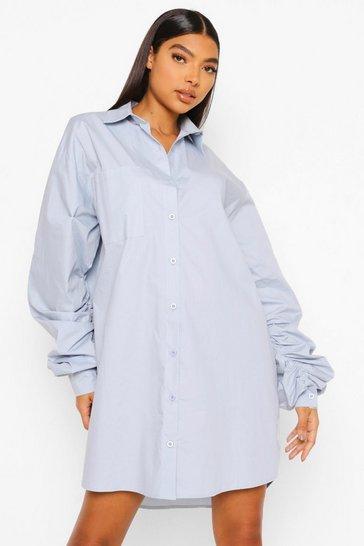 Blue Tall Woven Balloon Sleeve Shirt Dress