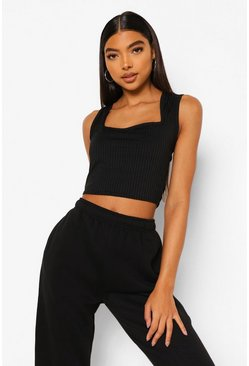 Black Tall Rib Square Neck Crop Top