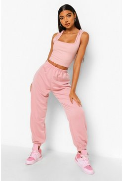 Blush pink Tall Rib Square Neck Crop Top