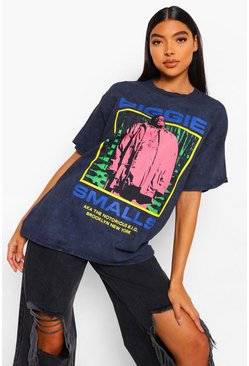 Charcoal grey Tall Acid Wash Gebleekt Gelicenseerd Biggie T-Shirt