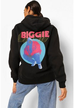 Black Tall Oversized Biggie Licence Hoodie