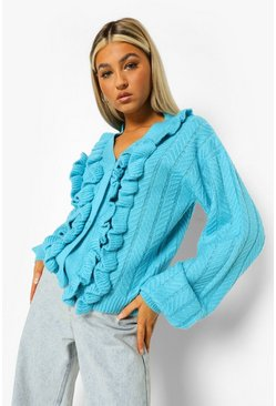 Aqua blue Tall Ruffle Detail Balloon Sleeve Cardigan