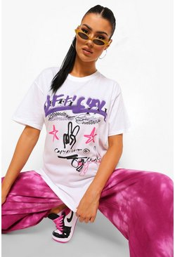 Tall - T-shirt oversize imprimé graffiti, White blanc