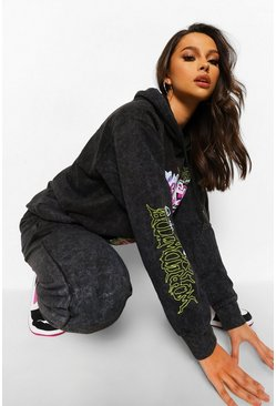 Charcoal Tall Acid Wash Spray Face Tracksuit Set