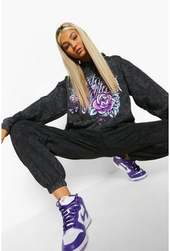 Tall Acid Wash Graffiti Tracksuit Set, Charcoal grau