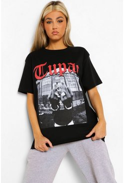 Black Tall Tupac License T-Shirt