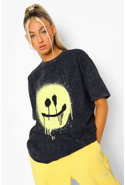 Charcoal grey Tall Acid Wash Spray Face T-shirt