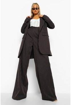 Tall Pinstripe Wide Leg Trouser, Black schwarz