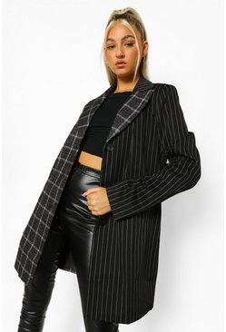 Black Tall Check And Pinstripe Oversized Blazer