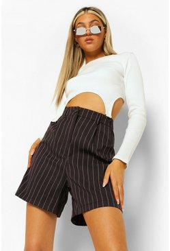 Black Tall Pinstripe Suit Shorts