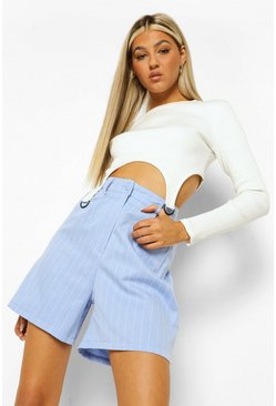 Cornflower blue blue Tall Pinstripe Suit Shorts