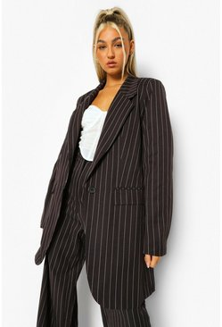 Black Tall Pinstripe Oversized Blazer