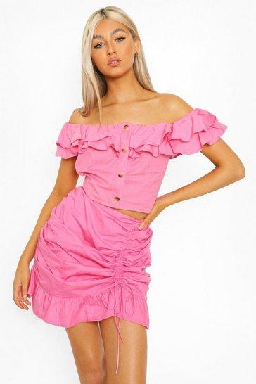 Pink Tall Cotton Linen Ruffle Crop Top