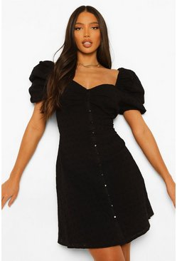 Black Tall Cotton Broderie Puff Sleeve Dress
