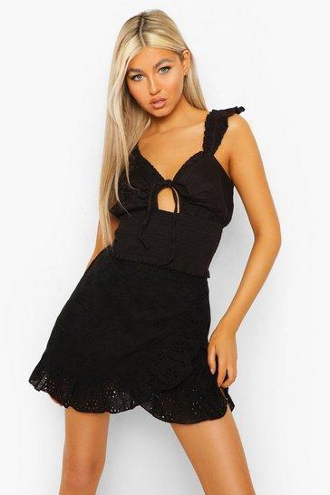Black Tall Cotton Linen Shirred Top
