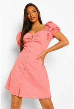 Pink Tall Cotton Broderie Puff Sleeve Dress