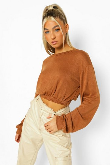 Brown Tall Knitted Crop Sweater