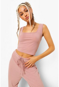 Rose pink Tall Geribbelde Lounge Crop Top