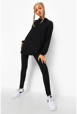 Black Tall Rib Lounge Leggings