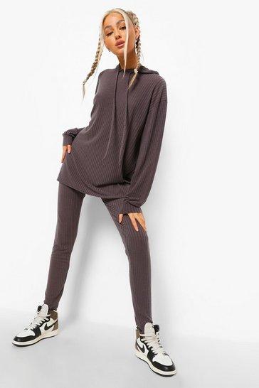 Charcoal grey Tall Rib Lounge Leggings