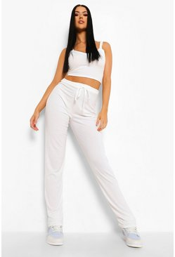 Ecru white Tall Geribbelde Lounge Broek