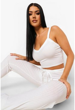 Ecru white Tall Rib Crop Vest Top