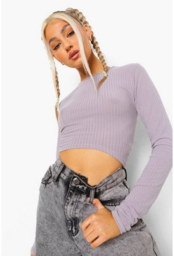Grey Tall Geribbelde Crop Top Met Korset Detail