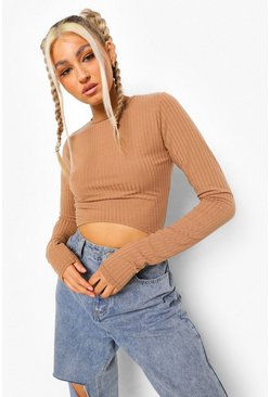 Tan brown Tall Geribbelde Crop Top Met Korset Detail