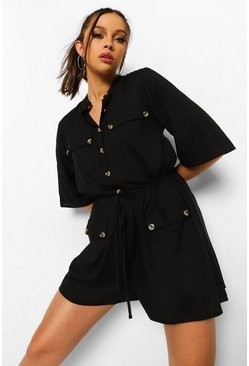 Tall Woven Button Grandad Collar Playsuit, Black negro