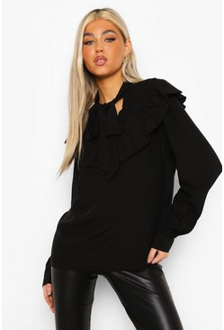 Black Tall Ruffle Detail Neck Tie Blouse