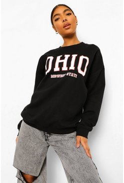 Black Tall Ohio Printed Oversized Sweatshirt